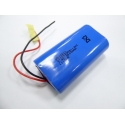 7.4 V 2600mAh 18650 2S1P Li-ion battery with protection and two wire