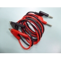 A pair of 1 meter red and black alligator clip to banana plug test lead cable